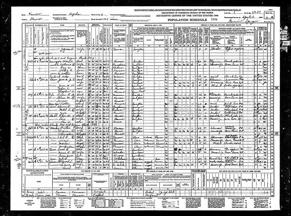 1940 US Federal Census record