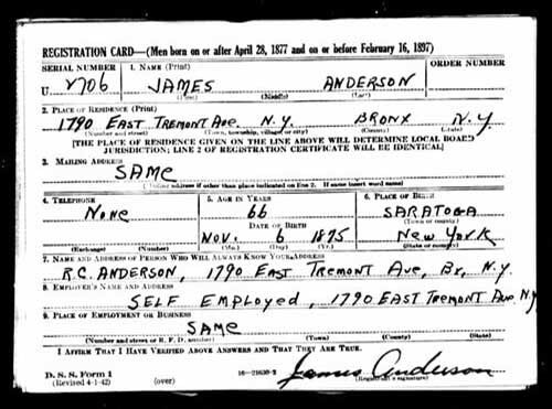 WW2 US Military draft card