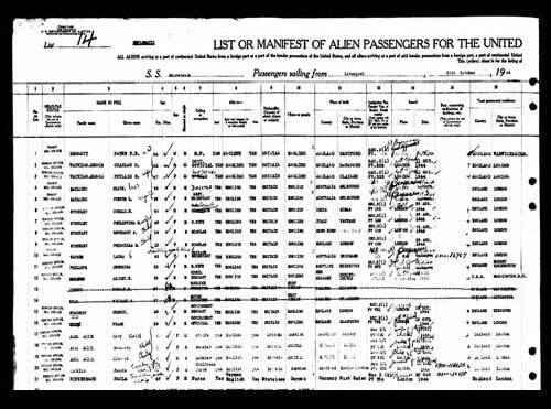 New York Passenger's List record