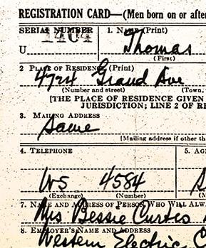 WW2 US Military draft card