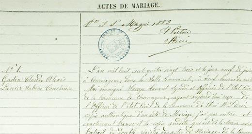 Acte de mariage, Courmayeur, 1883, collection généalogique du Val d'Aoste