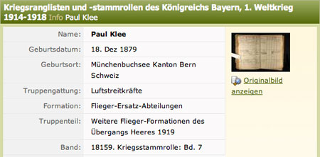 Eintrag für den Maler Paul Klee