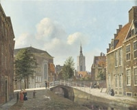 Carel Jacobus Behr, Daily activities along the Paviljoensgracht with the St. Jacobskerk in the distance, The Hague