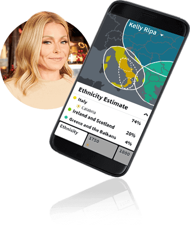 Phone showing Kelly Ripa's ethnicity estimate
