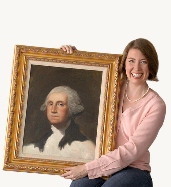 Emily holding a portrait of George Washington