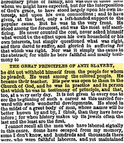 1873 eulogy for abolitionist Lewis Tappan