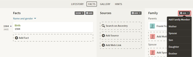 how to add myself as adopted on family tree ancestry.ca