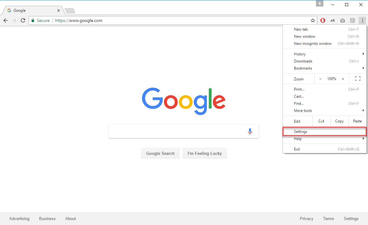 Settings Google Chrome
