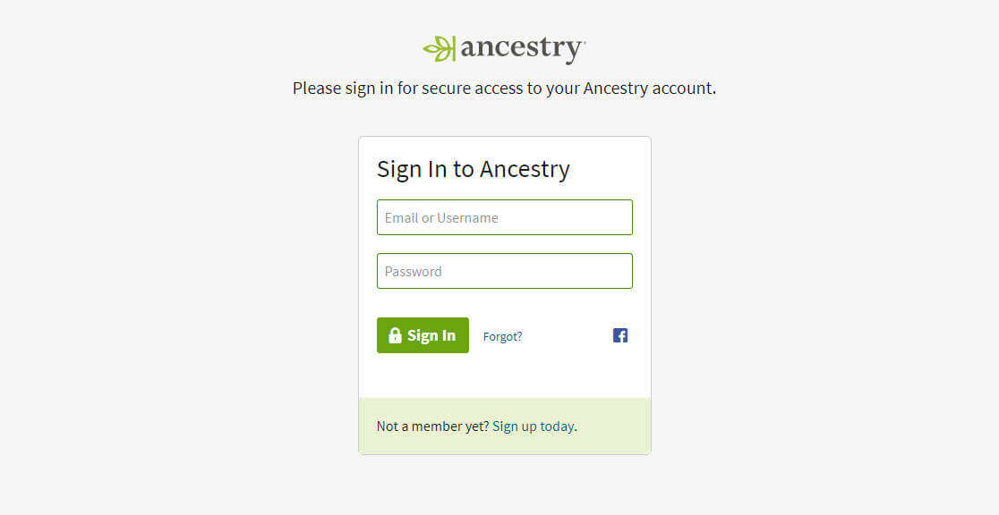 Signing in to and out of Your Ancestry Account