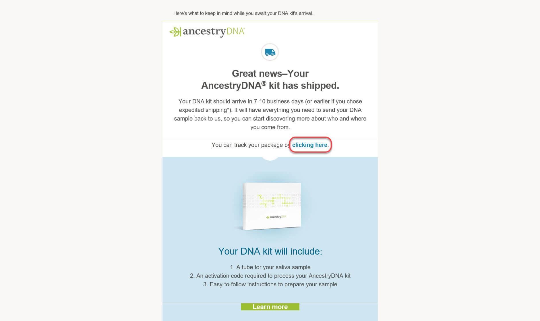 Tracking a DNA Test