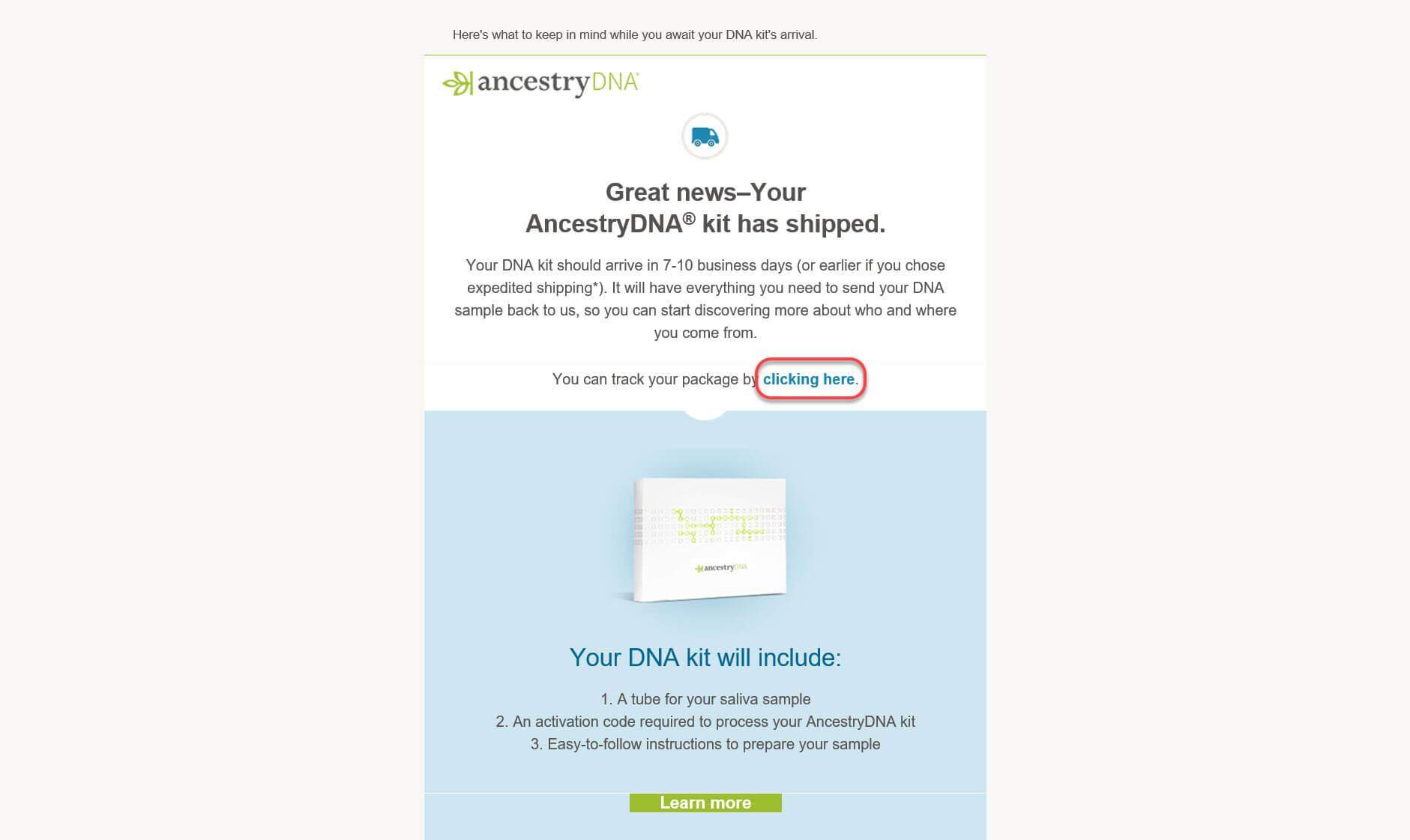 Tracking an AncestryDNA® Test
