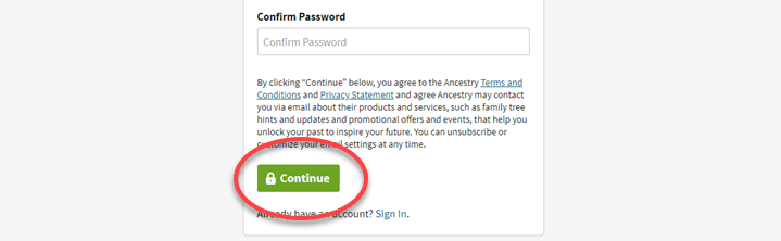 Creating a Free Ancestry® Account
