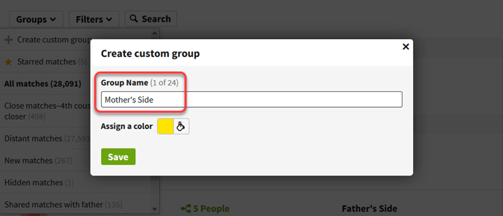 Grouping and Filtering AncestryDNA® Matches