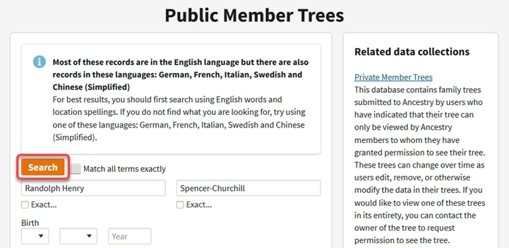 Searching Public Family Trees